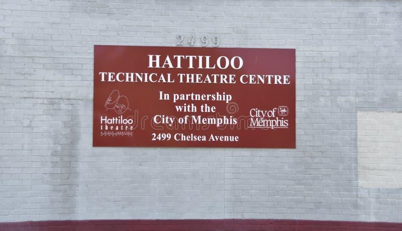 Segno tecnico del centro del teatro di Hattiloo, Memphis, TN immagini stock libere da diritti