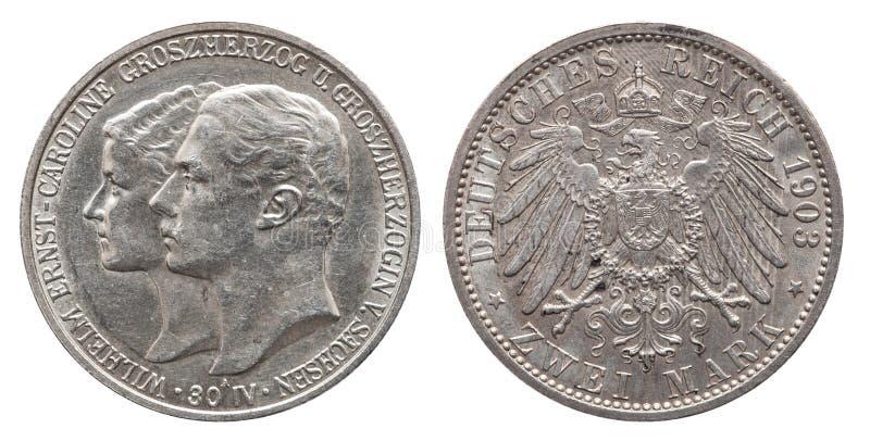 Segno tedesco due 1903 della moneta d'argento 2 della Germania Sassonia Weimar Eisenach immagine stock