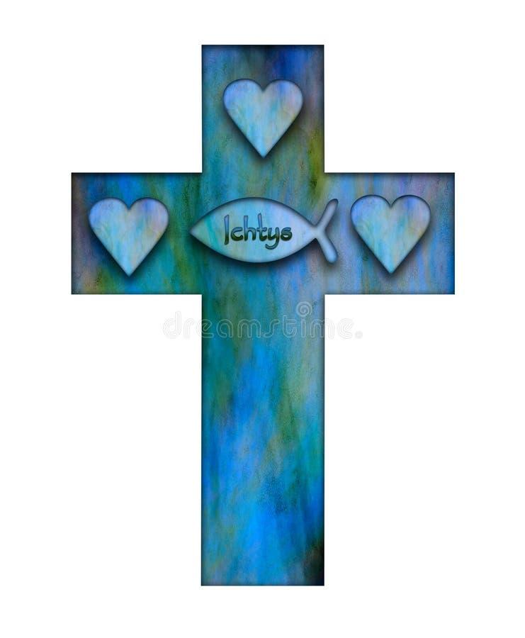 Segno trasversale e cuore di Ichtys di persecuzione che simbolizzano la trinità santa illustrazione di stock