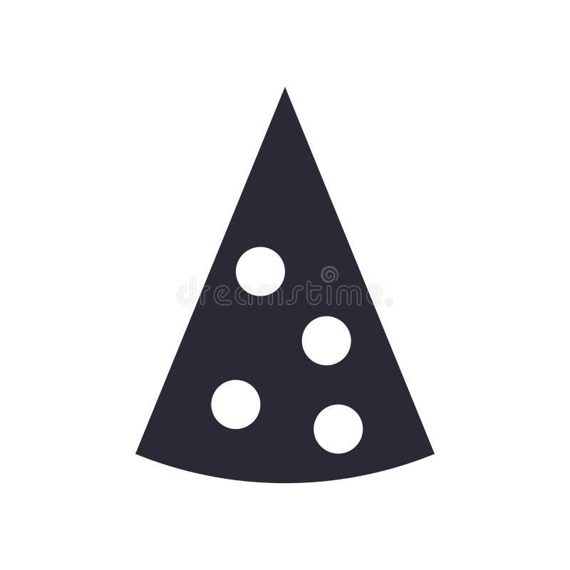 Segno triangolare e simbolo di vettore dell'icona della fetta della pizza isolati su fondo bianco, concetto triangolare di logo d royalty illustrazione gratis