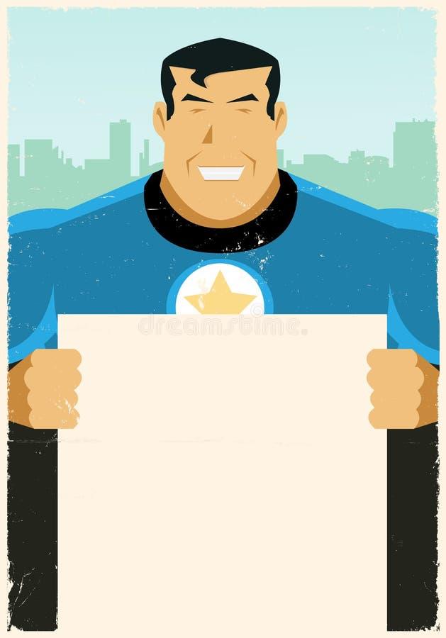 Segno urbano dell'annuncio dell'eroe eccellente di Grunge illustrazione di stock