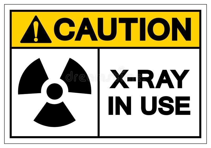 Segno in uso di simbolo dei raggi x di cautela, illustrazione di vettore, isolato sull'etichetta bianca del fondo EPS10 illustrazione vettoriale