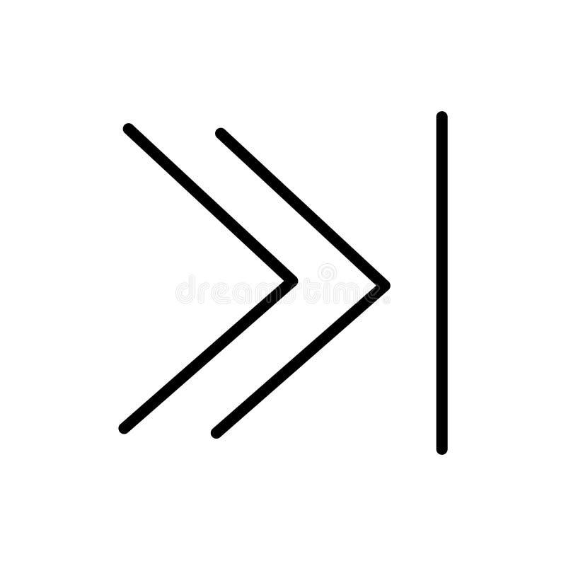 Segno veloce e simbolo di andata di vettore dell'icona isolati su fondo bianco, concetto di andata veloce di logo illustrazione vettoriale