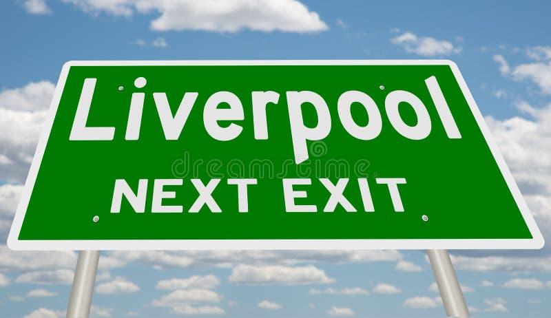 Segno verde della strada principale per l'uscita seguente di Liverpool royalty illustrazione gratis