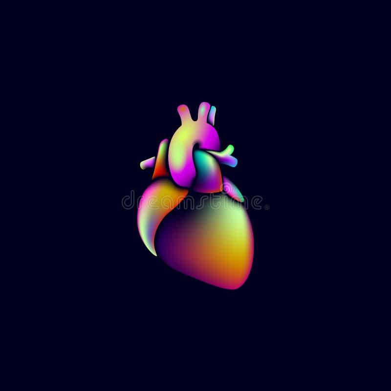 Segno vibrante variopinto di logo della medicina di forma del cuore di colore Neon fluido iridescente di pendenza del cuore umano illustrazione vettoriale