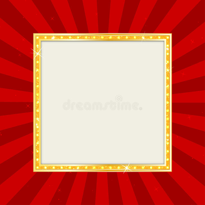 Segno vuoto del teatro o segno del cinema sul fondo di Pop art Retro insegna dell'oro illustrazione di stock