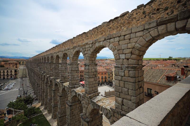 Segovia,西班牙 古老罗马渡槽 库存照片