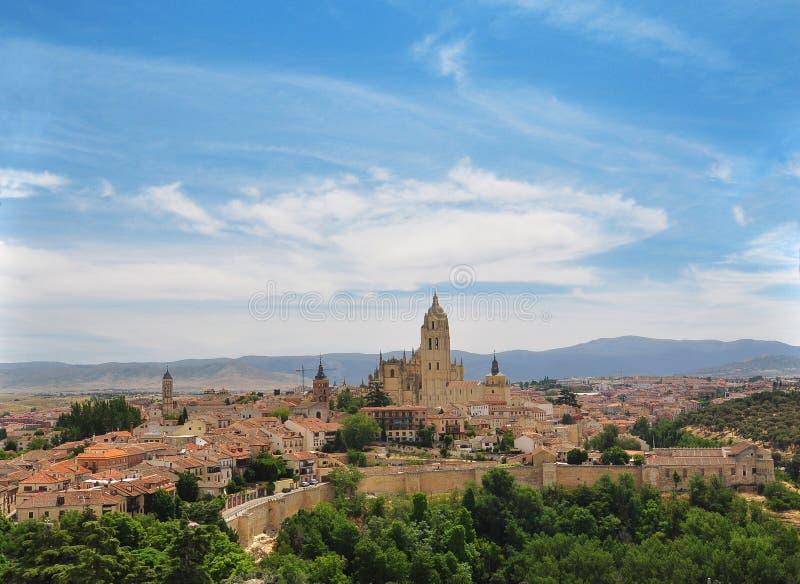 Segovia όψη της παλαιάς πόλης. Καστίλλη, Ισπανία στοκ εικόνες