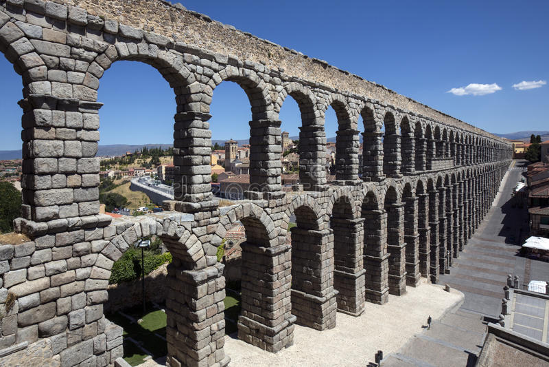 Segovia -罗马Aquaduct -西班牙 图库摄影