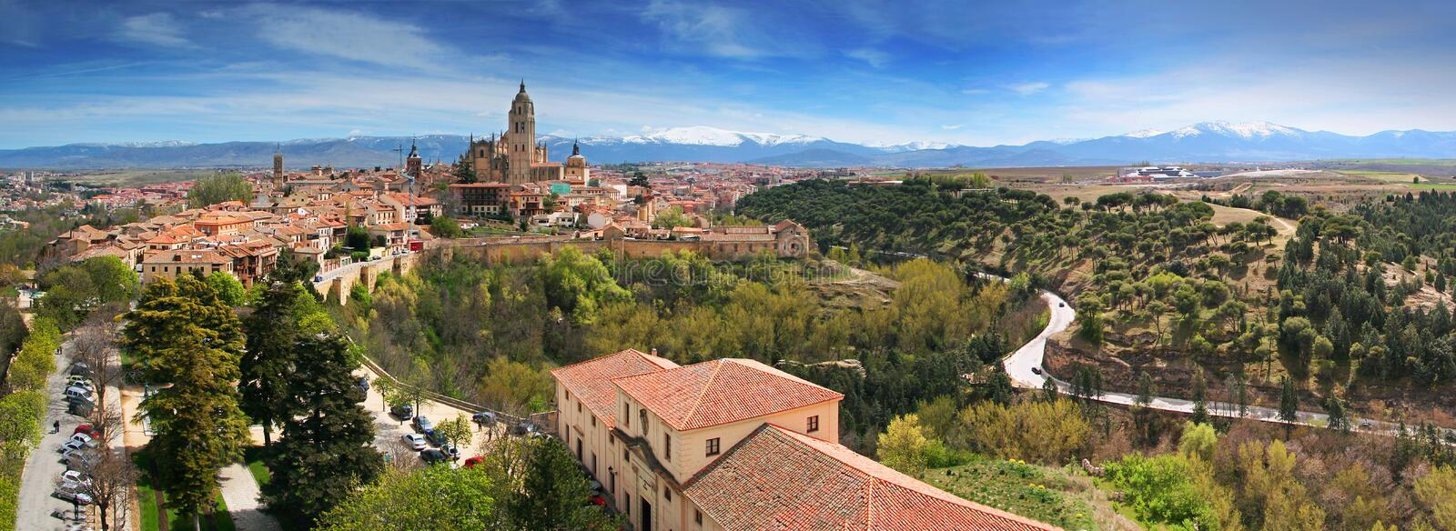 Segovia. City , panoramic view from Alcazar In the background is the mountain Sierra de Guadarrama Spain stock photo