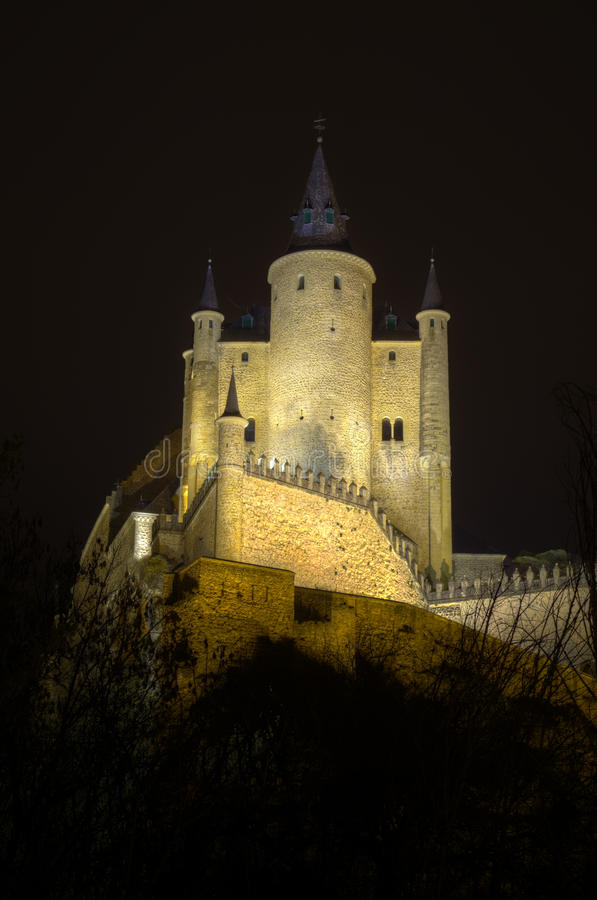 Segovia Alcazar Castle at night. Royal palace. royalty free stock photo