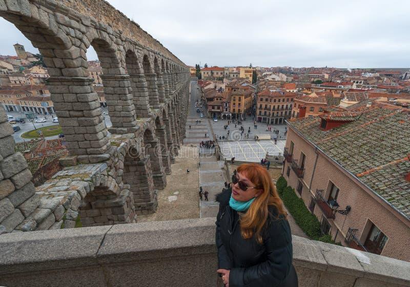 Segovia-Aquädukt stockfotos
