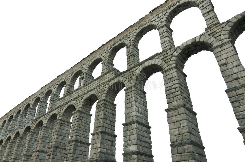 Segovia Aqueduct on white isolated background Famous Spanish Landmark stock photography