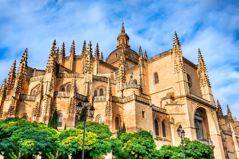 Segovia Cathedral in Castilla, Spain stock image