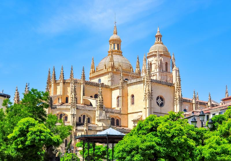 Segovia Cathedral dome and towers, Spain royalty free stock photo