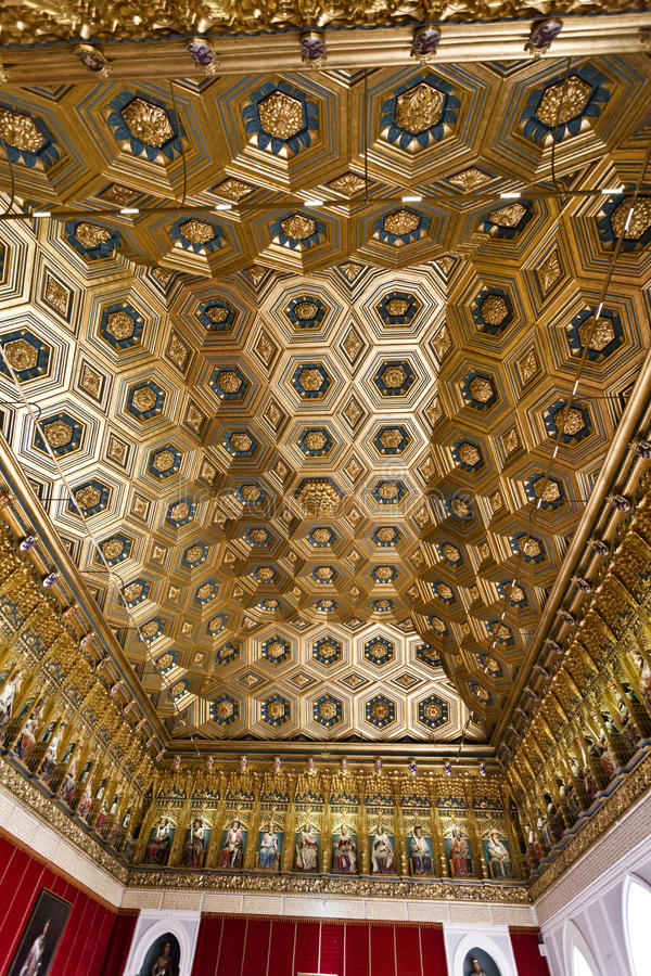 Segovia El Alcazar. View of the ceiling of the Hall of Kings of El Alcazar in Segovia, Spain royalty free stock images