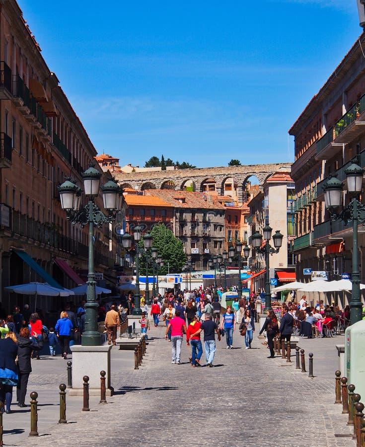 Segovia, España, y Roman Aqueduct históricos fotografía de archivo