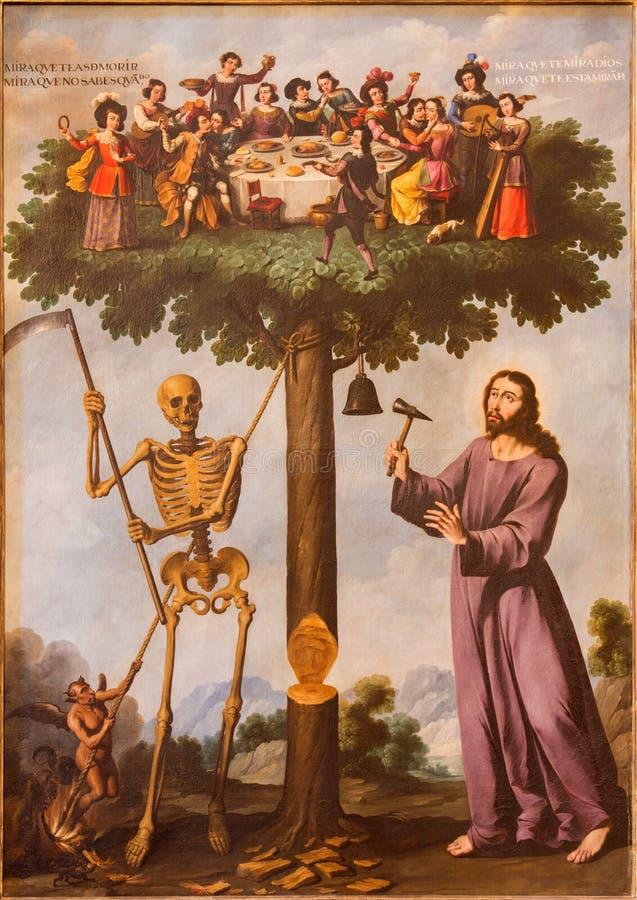 SEGOVIA, HISZPANIA: Symboliczny obraz Jezus i śmierć w Katedralnym Nuestra Senora de losie angeles Asuncion y De San Frutos de Se zdjęcie stock