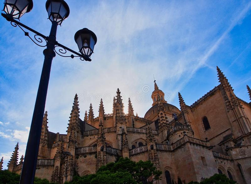 Segovia Kathedraal, Piaza-Burgemeester, Segovia, Spanje stock fotografie