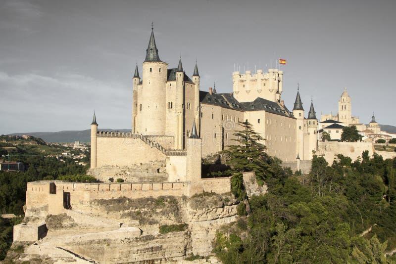 Segovia, monumentale stad Alcazar, kathedraal en kerken stock fotografie