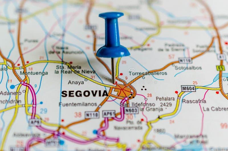 Segovia op kaart stock afbeeldingen