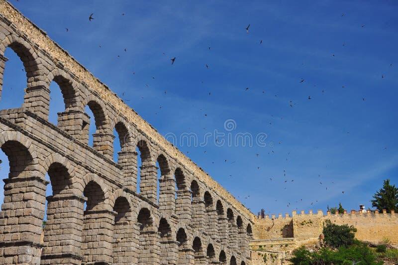 Segovia roman aqueduct. Castile region, Spain. The ancient roman aqueduct of Segovia. Flying swallows. Castile region, Spain stock photo