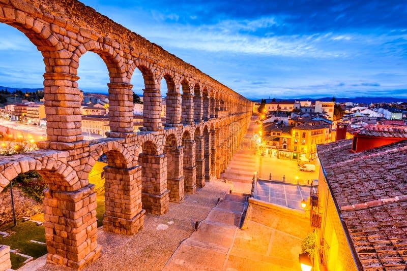 Segovia, Spagna - Castiglia y Leon, l'aquedotto immagini stock libere da diritti