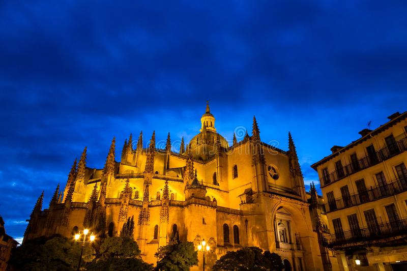 Segovia, Spain – Segovia cathedral in a summer night seen from plaza Mayor. royalty free stock images
