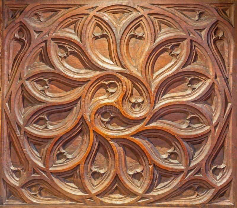 SEGOVIA, SPAIN, APRIL - 15, 2016: The carved detail of gothic choir in Cathedral Nuestra Senora de la Asuncion y de San Frutos. De Segovia royalty free stock photo