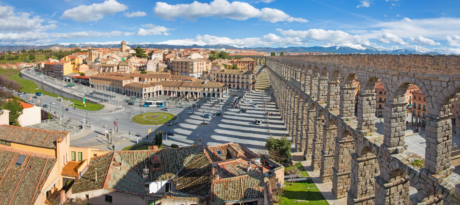 SEGOVIA, SPAIN, 2016: Aqueduct of Segovia and Plaza del Artilleria with the town. stock photo
