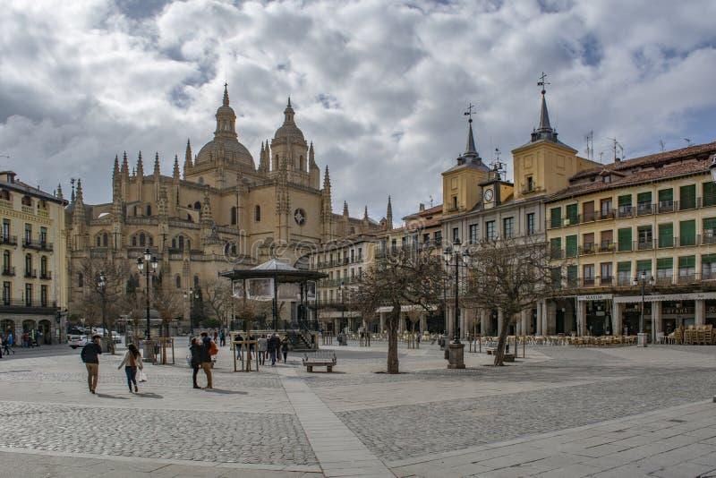 Cathedral of Santa Maria in the historic city of Segovia, Spain royalty free stock photos