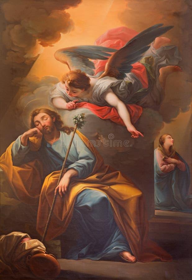 SEGOVIA SPANIEN, APRIL - 14, 2016: Visionen av ängeln till St Joseph i den dröm- målningen i Catedral royaltyfri bild