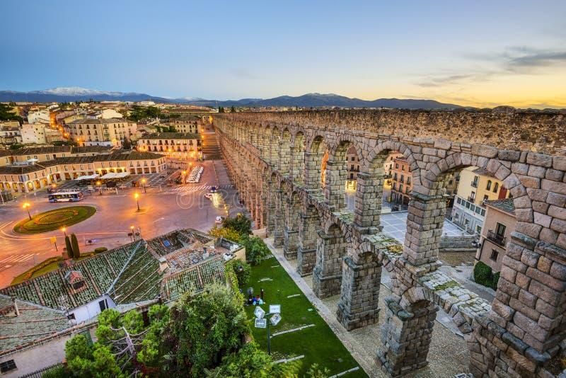 Segovia, Spanje Aquaduct stock fotografie
