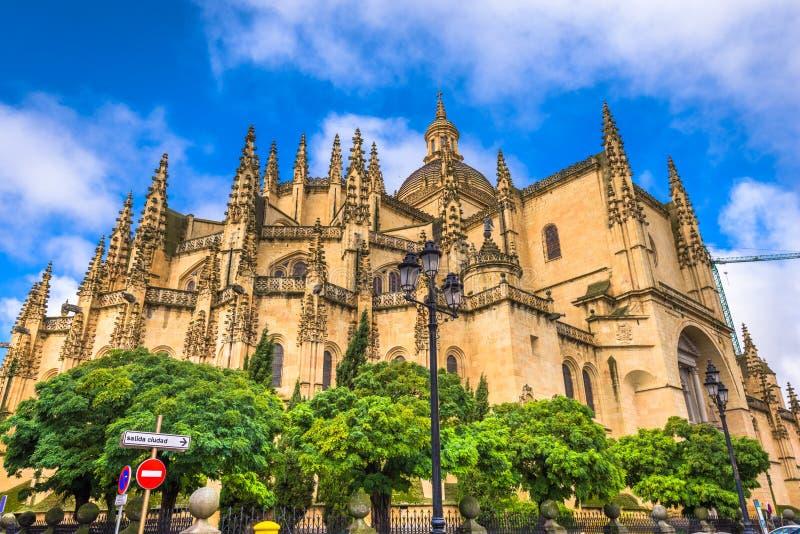 Segovia, Spanje bij de kathedraal stock foto