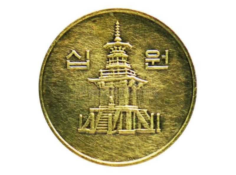 10 segrade tjockt 10 mynt, banken av Sydkorea Vända om, utfärda 1991 royaltyfria foton