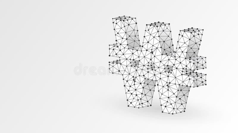 Segrat valutatecken Polygonal Sydkorea pengarsymbol Aff?r datakassa, finansbegrepp Abstrakt digitalt, poly wireframebottenläge vektor illustrationer
