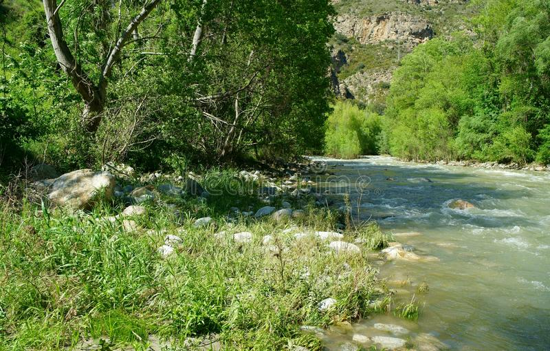 Segre rzeka w Alt Urgell okręgu administracyjnym obraz stock
