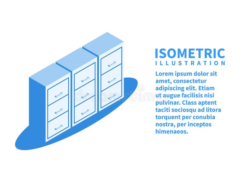 Segregowanie gabinet, archiwum dokument ikona Isometric szablon w mieszkania 3D stylu również zwrócić corel ilustracji wektora royalty ilustracja