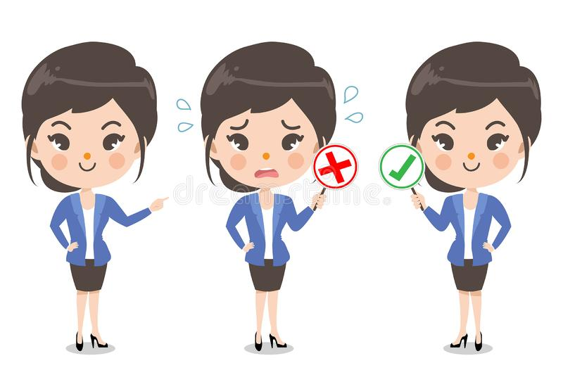 Segretaria ed emozione di azione illustrazione di stock