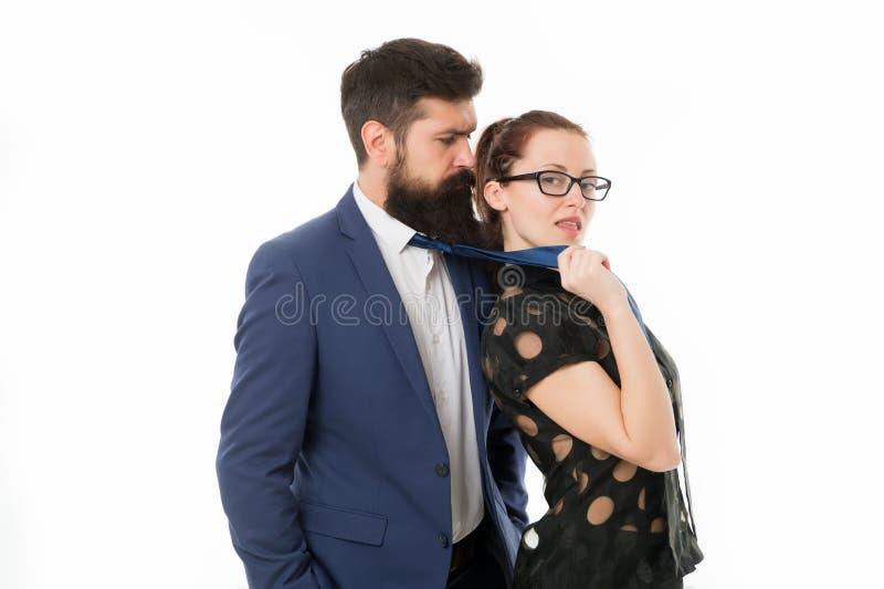 Segretaria seducente Uomo dei soci commerciali con la barba e l'incontro di affari o la riunione di flirt della donna Capo e fotografie stock libere da diritti