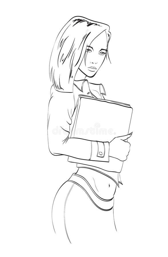Segretario femminile Donna di affari - 2 Bella ragazza dello studente illustrazione vettoriale