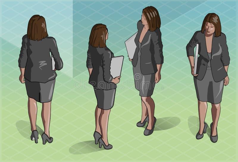 Segretario isometrico Standing della donna royalty illustrazione gratis
