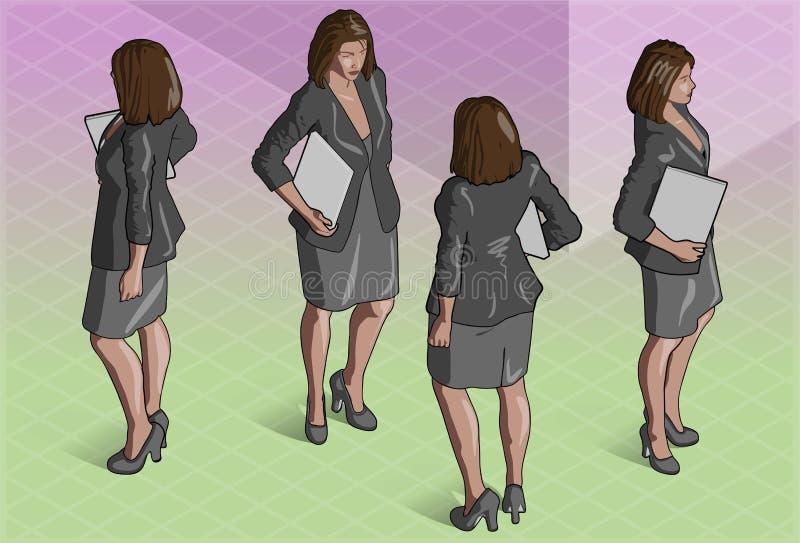 Segretario isometrico Standing della donna illustrazione di stock