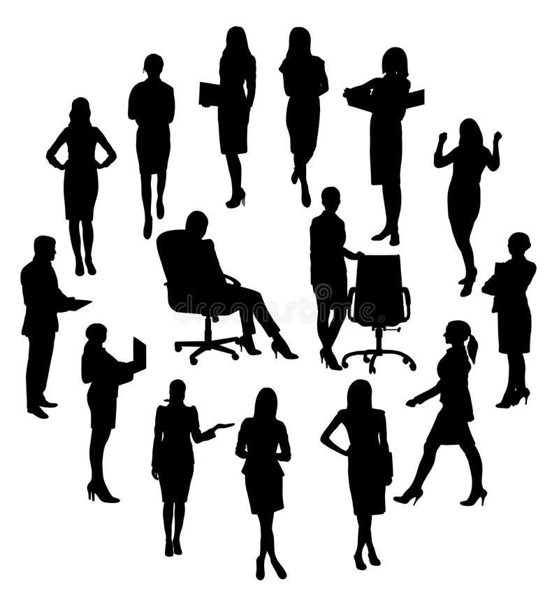 Segretario Office Activity Silhouettes illustrazione vettoriale