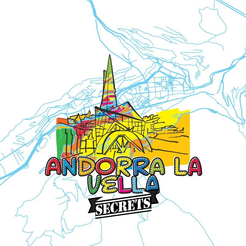Segreti Art Map di viaggio dell'Andorra illustrazione di stock