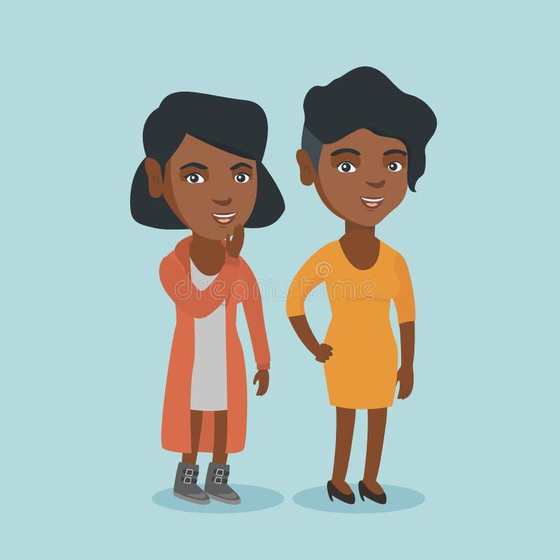 Segreto di sussurro della giovane donna africana ad un amico illustrazione vettoriale