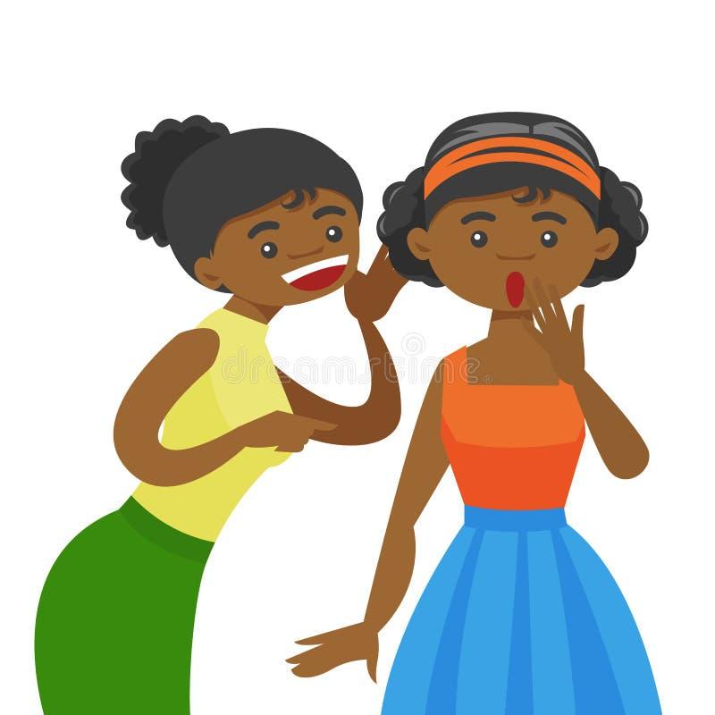 Segreto di sussurro della giovane donna africana ad un amico illustrazione di stock