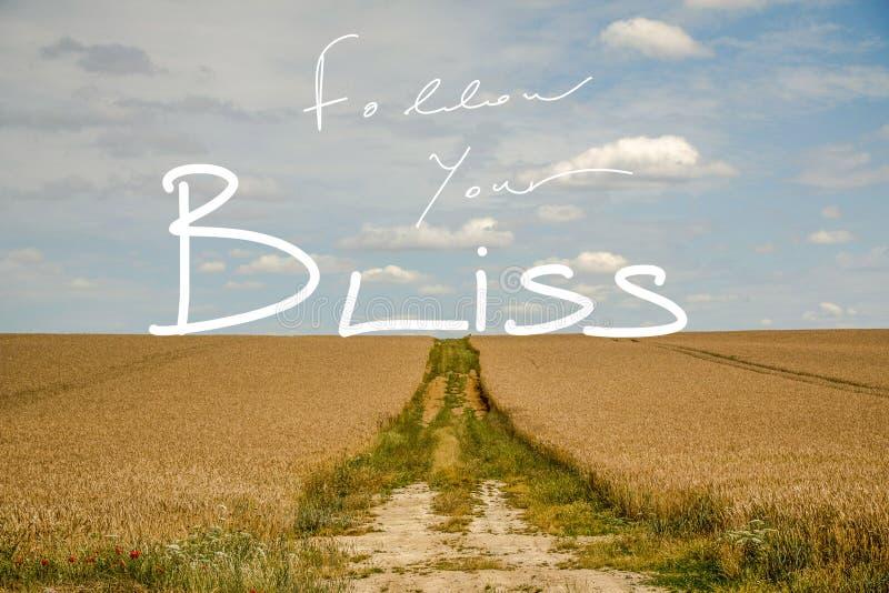 Segua il vostro paesaggio vago di Bliss Handwriting Quote In A fotografie stock