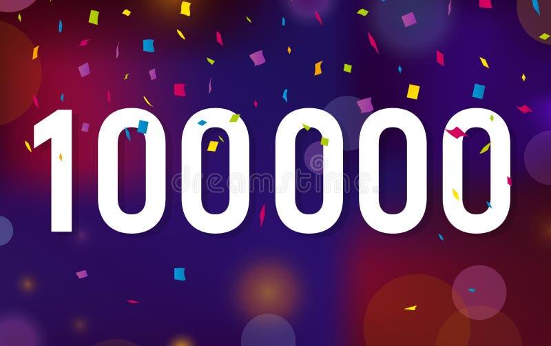 Seguidores das felicitações 100K, cem mil seguidores Agradece ao fundo da bandeira com confetes Ilustração do vetor ilustração stock