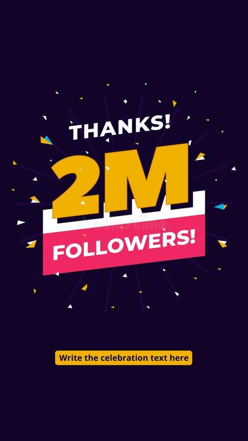 seguidores de los 2m, un millón plantillas sociales del fondo del poste de los medios de los seguidores Diseño creativo de la tip libre illustration